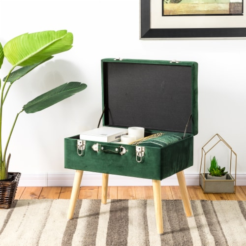 Glitzhome Velvet & Wooden Upholstered Storage Stool - Hunter Green Perspective: top