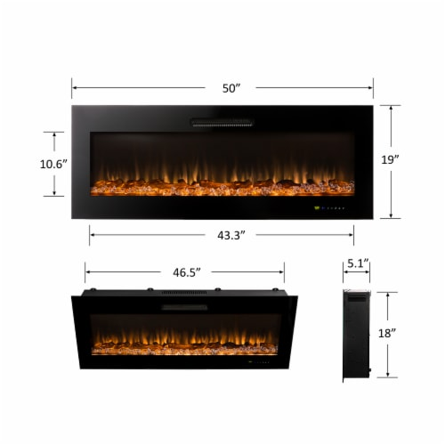 "50""L Recessed Wall Mounted Electric Fireplace, With 9 Color Flames Perspective: top"