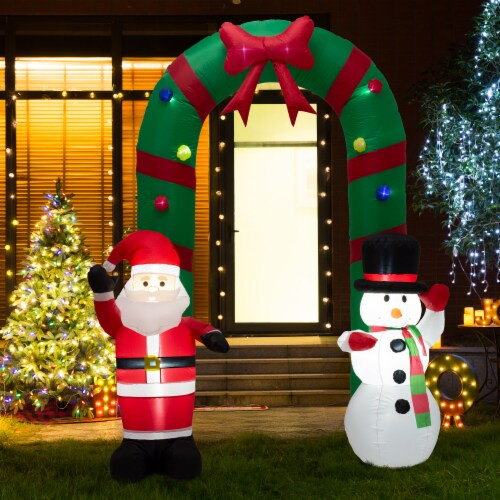 Glitzhome Inflatable Santa Snowman Gate Arch Christmas Decor Perspective: top