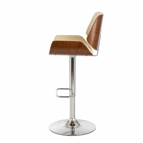 Glitzhome Adjustable Height Swivel Bar Stool - Cream Perspective: top