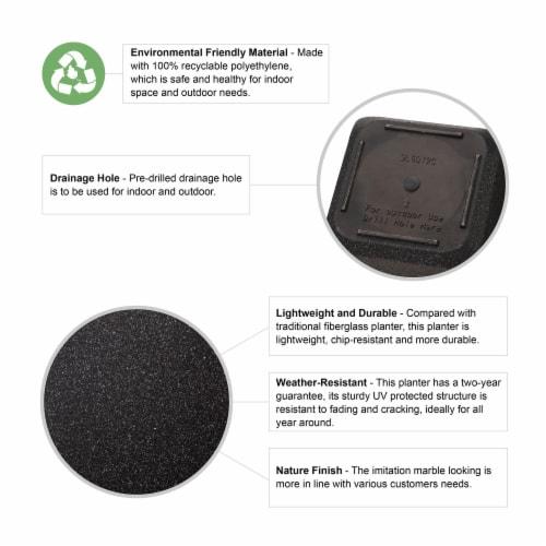 Glitzhome Oversized Faux Marble Square Plastic Planter -  Black Perspective: top