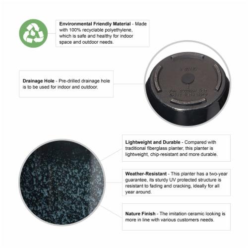 Glitzhome Oversized Faux Ceramic Tall Bowl Plastic Pot Planter - Black Perspective: top