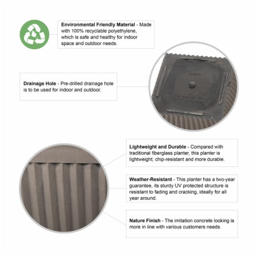 Glitzhome Faux Concrete Square Plastic Fluted Pot Planter Perspective: top