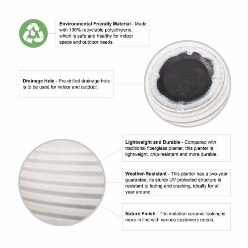 Glitzhome Fauz Porcelain Round Fluted Planters Perspective: top
