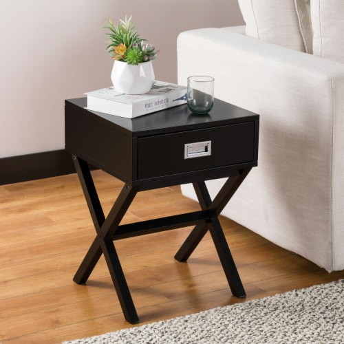 Glitzhome Modern Wooden X-Leg End Table - Black Perspective: top