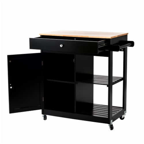 Glitzhome Basic Wooden Kitchen Island - Black Perspective: top