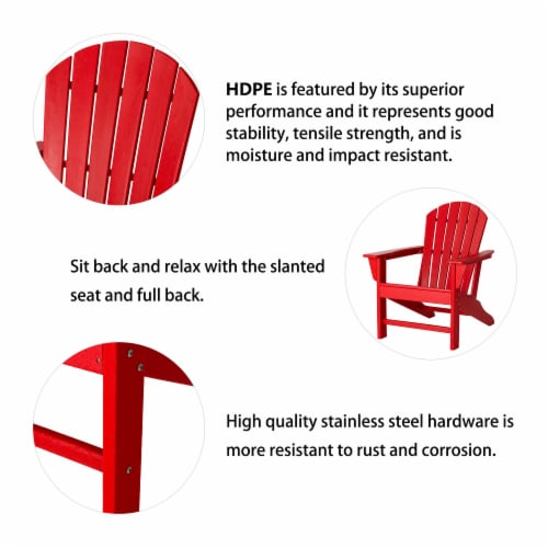 Glitzhome All-Weather Adirondack Chair -  Red Perspective: top