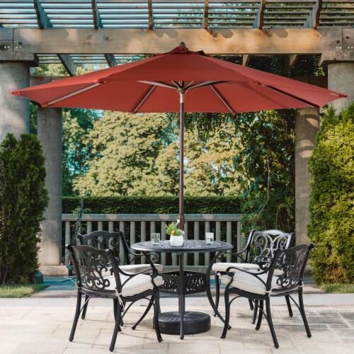 Glitzhome Aluminium Self Tilt Market Patio Umbrella - Wine Red Perspective: top