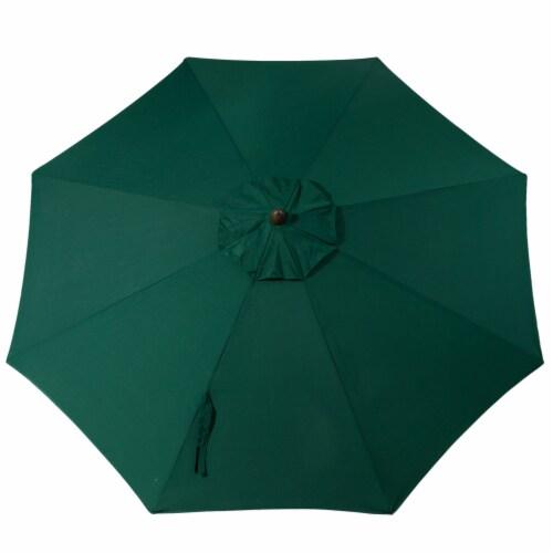 Glitzhome Aluminium Self Tilt Market Patio Umbrella - Dark Green Perspective: top