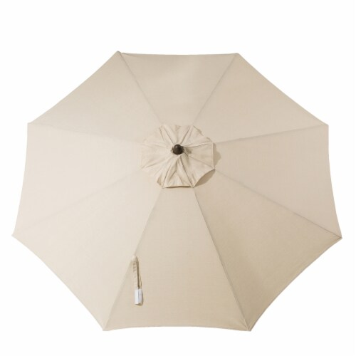 Glitzhome Aluminium Self Tilt Market Patio Umbrella - Beige Perspective: top