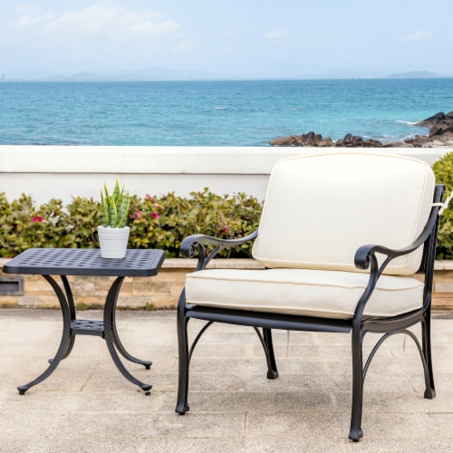 Glitzhome Cast Aluminium Patio Garden Square Side Table - Black Perspective: top