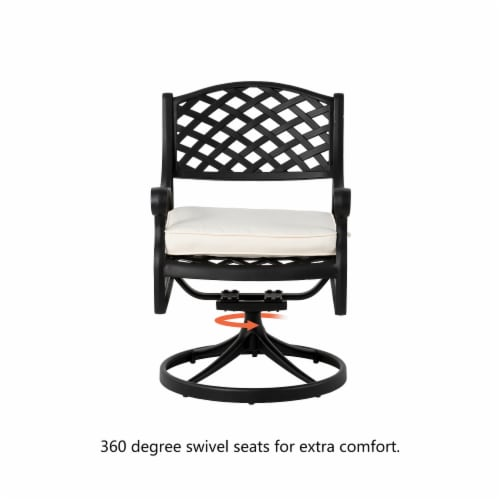 Glitzhome Cast Aluminum Patio Dining Swivel Chair - Beige Perspective: top