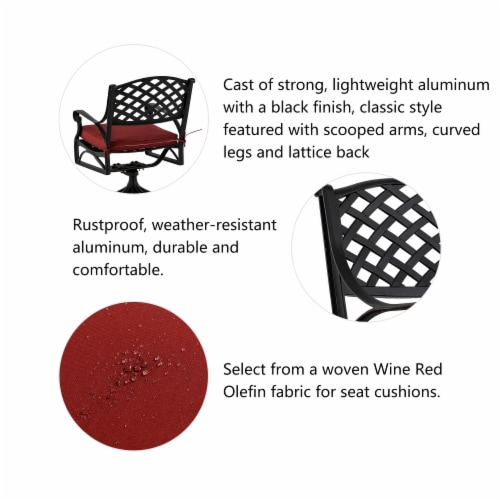 Glitzhome Cast Aluminium Patio Garden Dining Swivel Chair with Wine Red Cushion Perspective: top