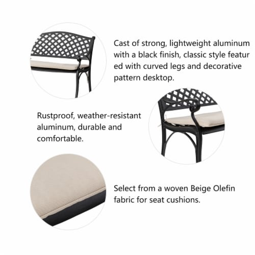 Glitzhome Aluminium Patio Garden Bench with Beige Cushion Perspective: top