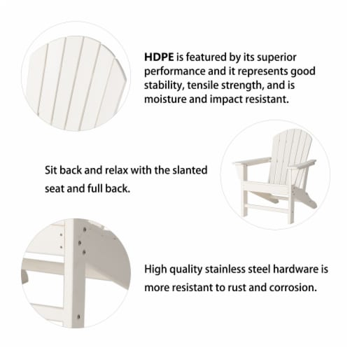 Glitzhome All-Weather Adirondack Chair - White Perspective: top