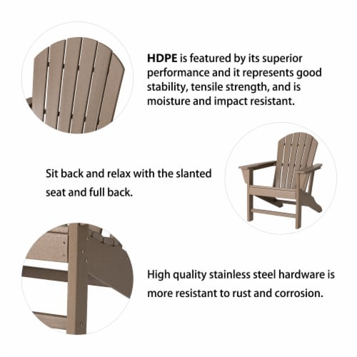 Glitzhome All-Weather Adirondack Chair - Tan Perspective: top