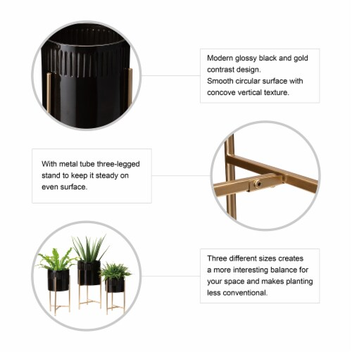 Glitzhome Modern Glossy Metal Plant Stands - Black/Gold Perspective: top