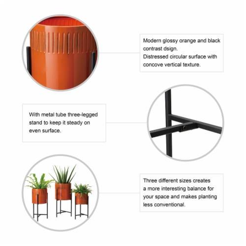 Glitzhome Modern Metal Plant Stands - Black/Orange Perspective: top