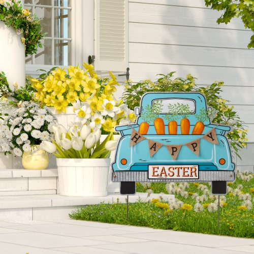 Glitzhome Easter Metal Truck Decor Perspective: top