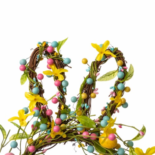 Glitzhome Easter Bunny Shaped Wreath with Eggs & Satin Ribbon Bow Perspective: top