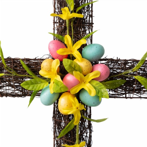 Glitzhome Floral Easter Cross with Easter Eggs Wall Decoration Perspective: top