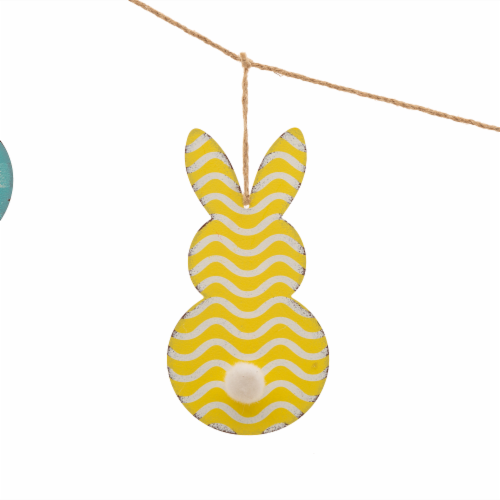 Glitzhome Easter Metal Bunny Garland Perspective: top