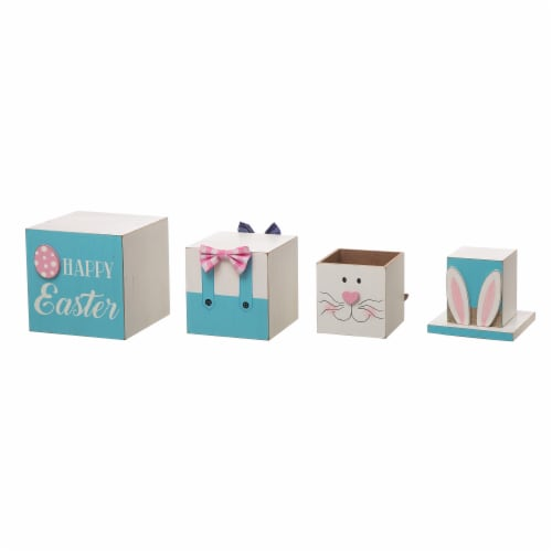 Glitzhome Doubled Sided Easter and July Fourth Wooden Porch Box Decor Perspective: top