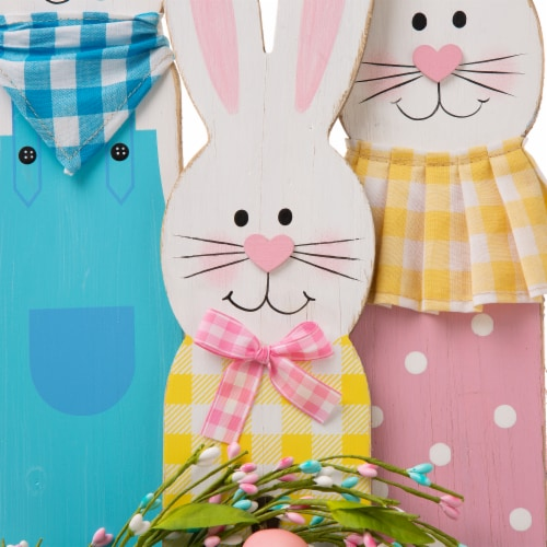Glitzhome Easter Bunny Family Wooden Welcome Standing Sign Perspective: top