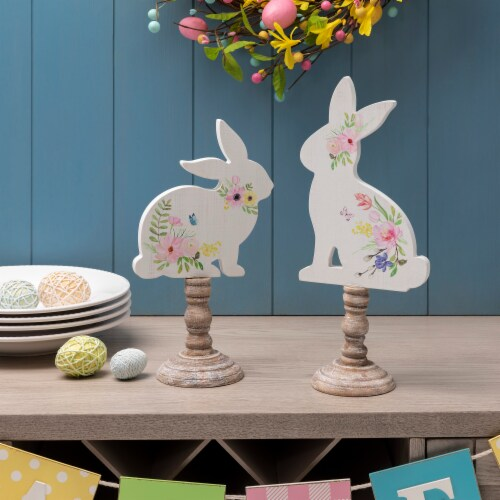 Glitzhome Easter Wooden Bunny with Candle Holder Pedestal Table Decor Perspective: top