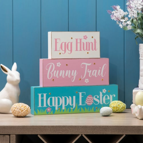 Glitzhome Easter LED Lighted Wooden/Metal Block Word Sign Perspective: top