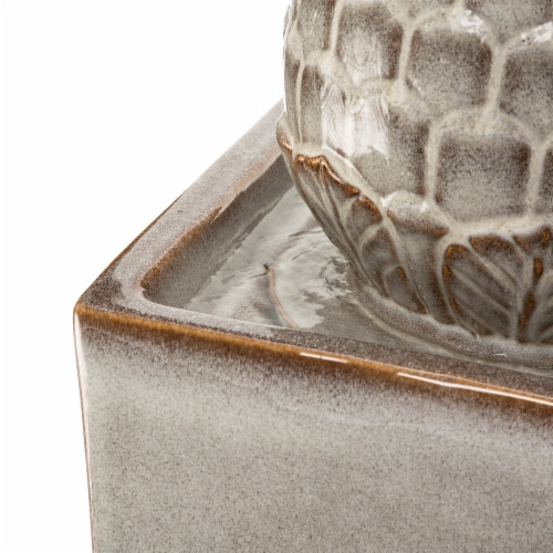 Glitzhome Ceramic Sphere Pedastal Outdoor Fountain - Ivory Perspective: top