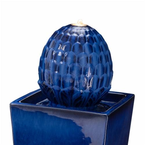Glitzhome Ceramic Sphere Pedestal Fountain - Blue Perspective: top