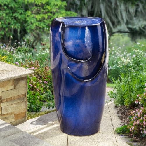 Glitzhome Outdoor Ceramic Pot Fountain - Blue Perspective: top