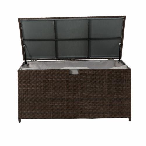 Glitzhome Outdoor Patio Garden Wicker Storage Deck Box - Brown Perspective: top