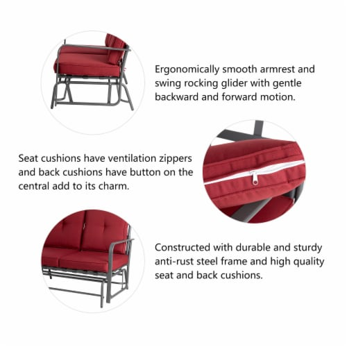 Glitzhome Outdoor Garden Patio Loveseat - Red Perspective: top
