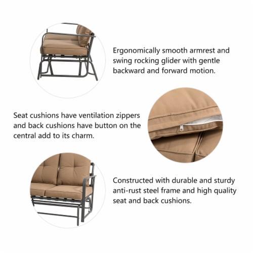 Glitzhome Outdoor Patio Garden Loveseat Glider Chair - Tan Perspective: top