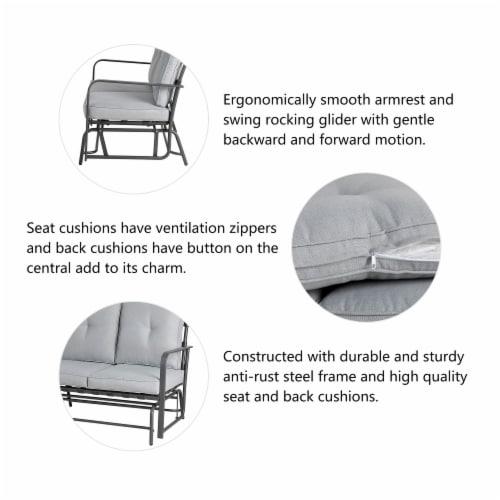 Glitzhome Outdoor Patio Garden Loveseat Glider Chair - Gray Perspective: top