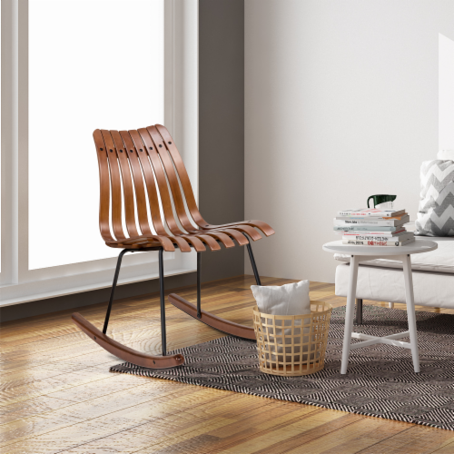 Glitzhome Contoured Natural Bamboo Rocking Chair Perspective: top