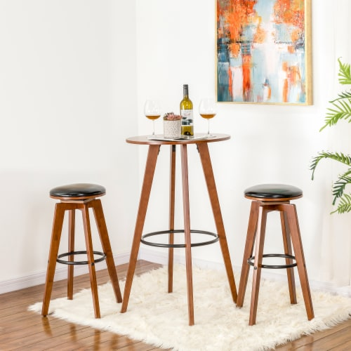 Glitzhome Midcentury Modern Round Natural Bamboo Bar Table Perspective: top