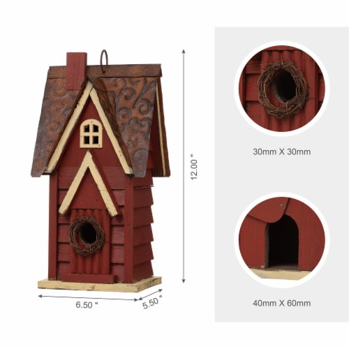 Glitzhome Hanging Distressed Wooden Cottage Birdhouse - Red Perspective: top