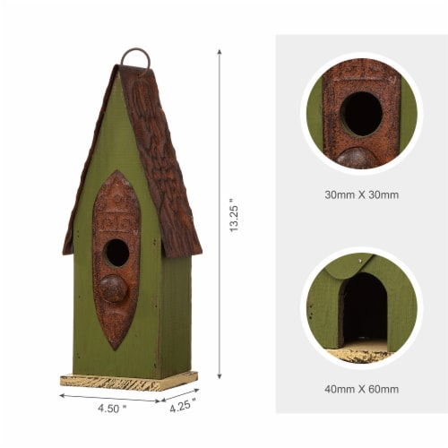 Glitzhome Hanging Distressed Wooden Garden Birdhouse - Green Perspective: top