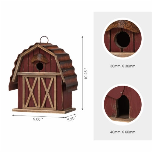 Glitzhome Hanging Wood Red Barn Outdoor Bird House Perspective: top