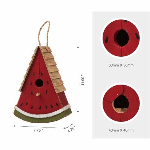 Glitzhome Hanging Wooden Watermelon Decorative Garden Birdhouse Perspective: top
