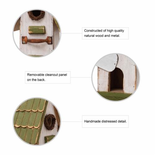 Glitzhome Hanging Wooden Green Roof Decorative Garden Birdhouse Perspective: top