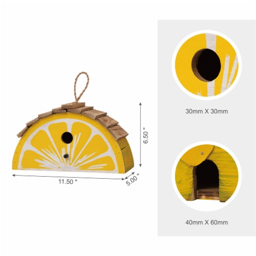 Glitzhome Hanging Wooden Lemon Decorative Garden Birdhouse - Yellow/White Perspective: top