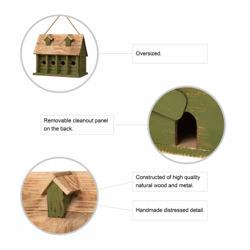 Glitzhome Hanging Wooden Distressed Garden Birdhouse - Green Perspective: top