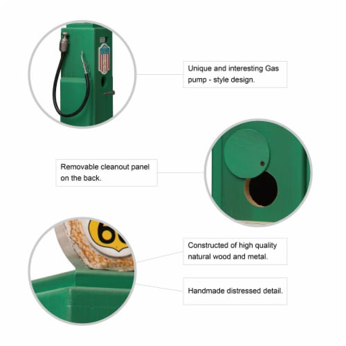 Glitzhome Hanging Wood Gas Pump Birdhouse - Green Perspective: top