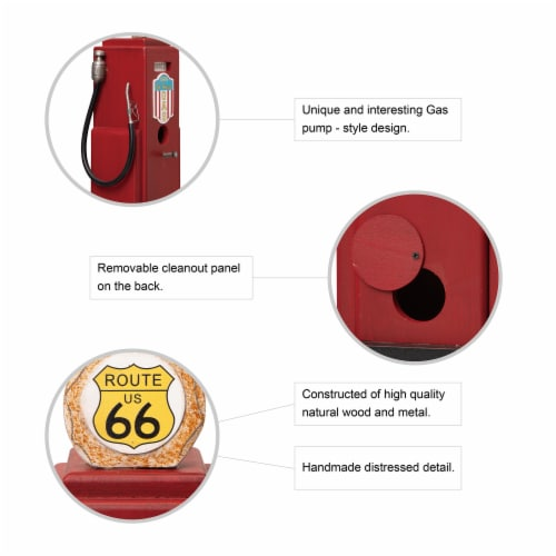 Glitzhome Hanging Wood Gas Pump Birdhouse - Red Perspective: top
