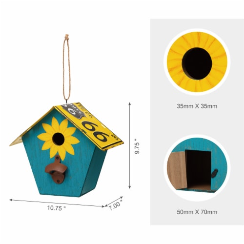 Glitzhome Wooden and Metal License Plate Birdhouse - Blue/Yellow Perspective: top