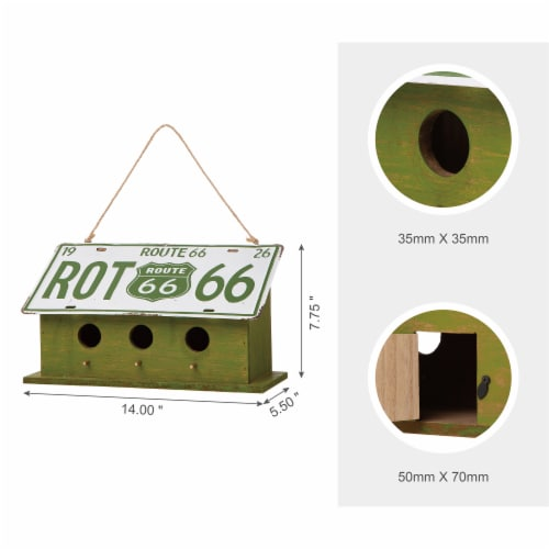 Glitzhome Hanging Wooden and Metal License Plate Garden Birdhouse - Green/White Perspective: top